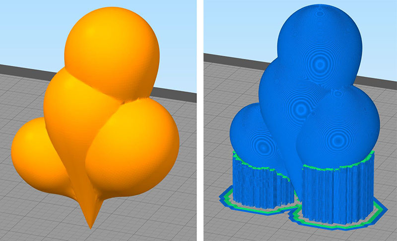 In this example, you only need to use PVA on the dense layer between the support and the object since it's easy to break away.