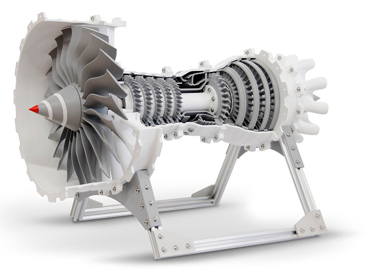 Large Jet Engine Cutaway Model 3D Printed on the gMax 3D Printer