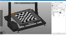Dual extruder chessboard on a gMax 3D printer in PrusaSlicer screenshot