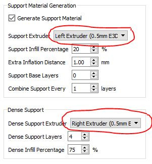 In Simplify3D you can set normal support to the left extruder (most likely PLA) and the dense support to the right extruder (PVA)