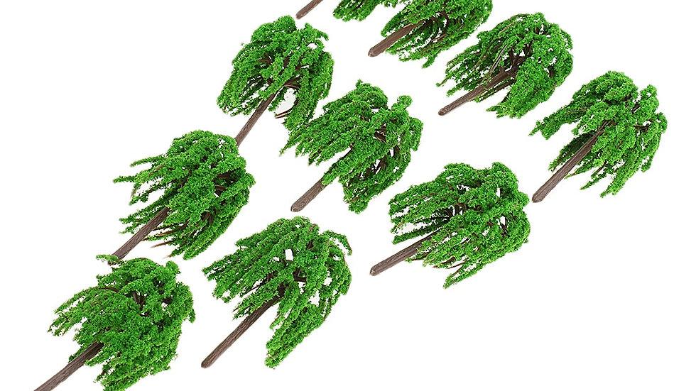 10pcs 1: 150 Plastic Willow Trees Model Street Train Railroad Layout