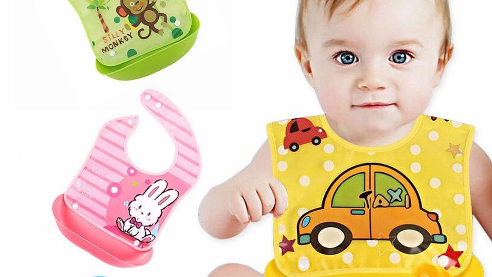 Bavaglino per neonato con portasaliva / portabriciole