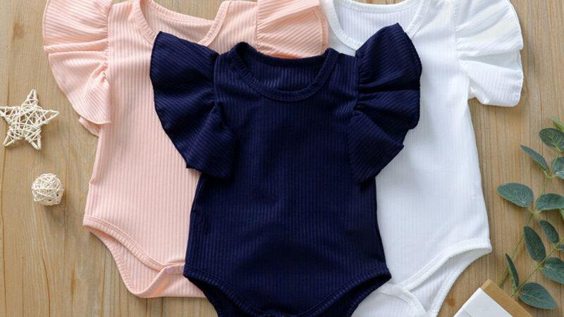 Baby Body in cotone con manica corta con pieghe: taglie da 0m+ a 18 m+