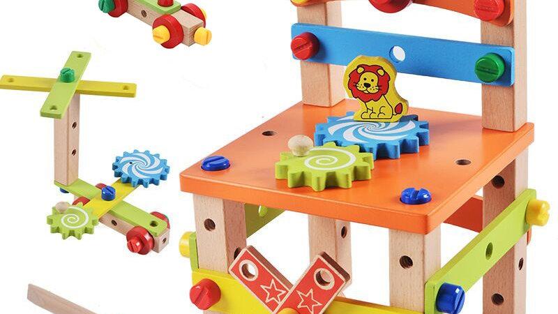 Sedia Montessoriana di legno da costruire e assemblare multiattività