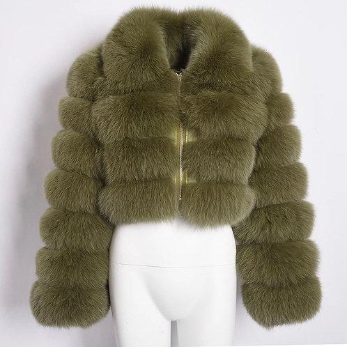 Olive Cropped Fur Jacket