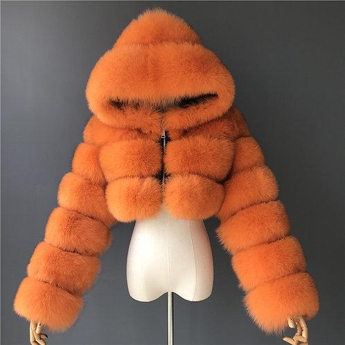 Orange Cropped hooded bomber