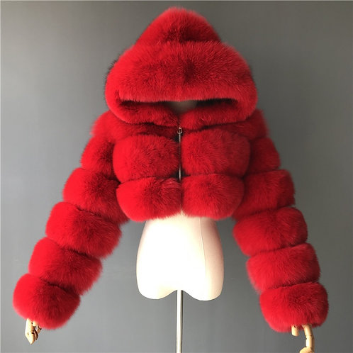Red Cropped hooded bomber