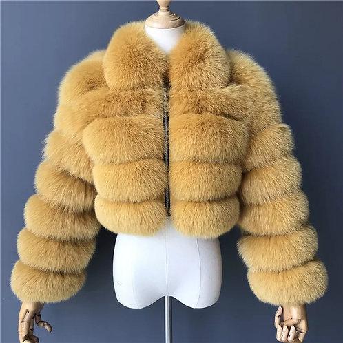 Mustard Cropped Fur Jacket