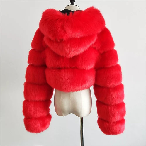 Hooded Faux Fur Cropped Jacket