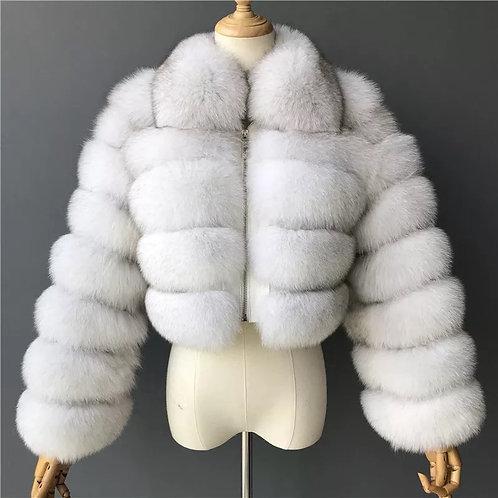 Silver Cropped Fur Jacket