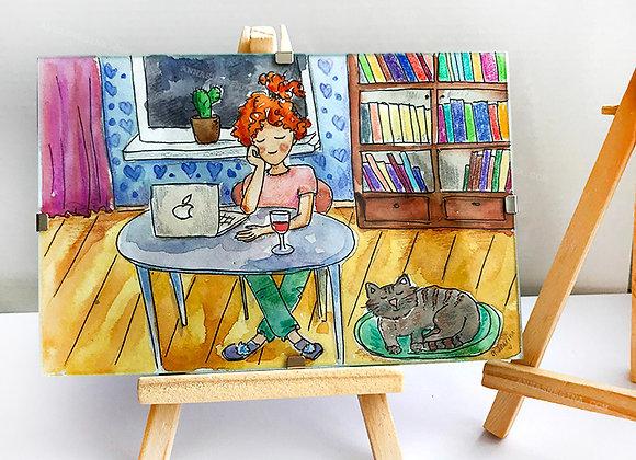Иллюстрация в рамке на подставке