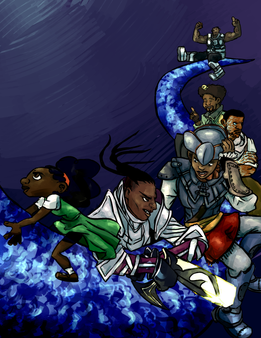 Digital, 2016  Poster (without text) for Black History Month event wherein Black professionals in games spoke on their experiences.