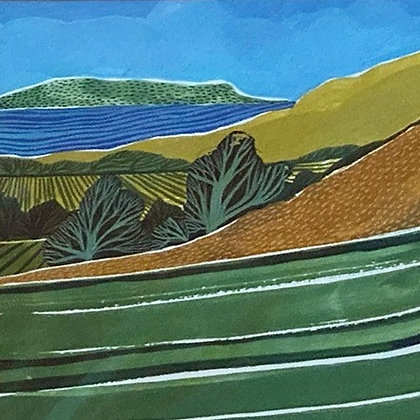 Original painting of the view towards the Isle of Portland by Dorset artist Jessamy Hawke
