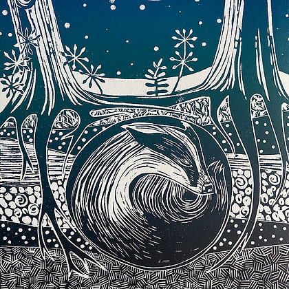 Sleeping badger limited edition linocut