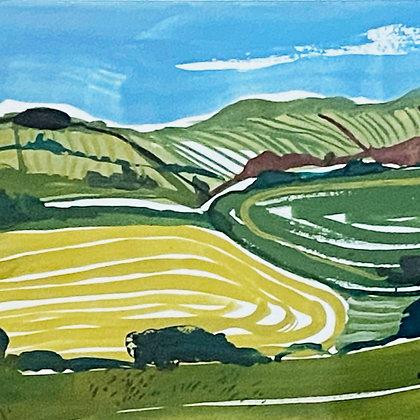 Original painting of fields near Kimmeridge by Dorset artist Jessamy Hawke