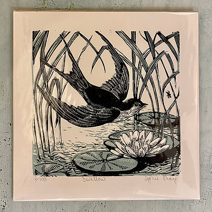 Swallow limited edition lino print