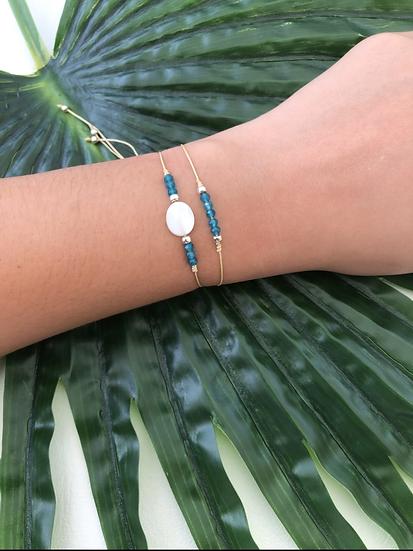 Amazonita Bracelets Set | Gold