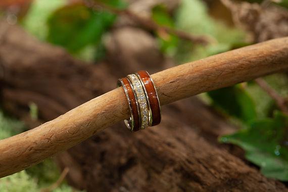年輪Ⅱ 千年指環(屋久杉)3.0mm+4.0mm+プロングエタニティ3.0mm