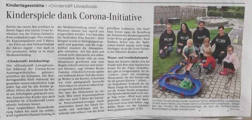 2020-06-20 Beitrag im Urner Wochenblatt