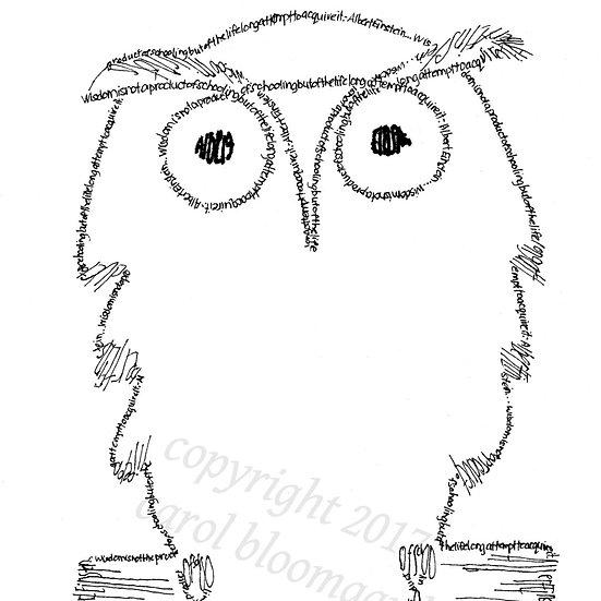 Einstein Owl - Einstein quote (Reproduction)