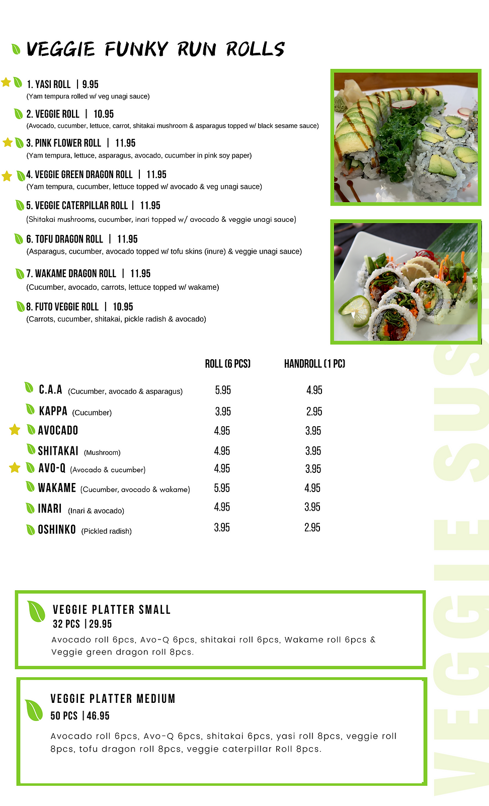 Veggie Funky Run - Sushi run Menu.png