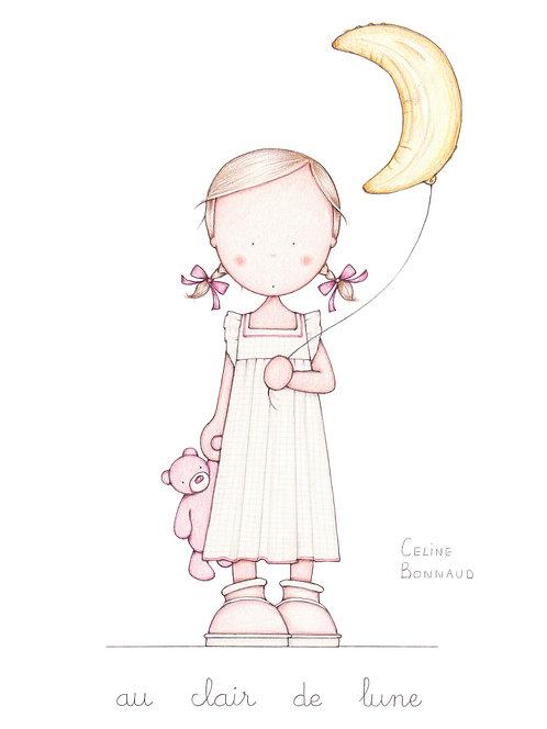 "carte postale ""Au clair de lune"""