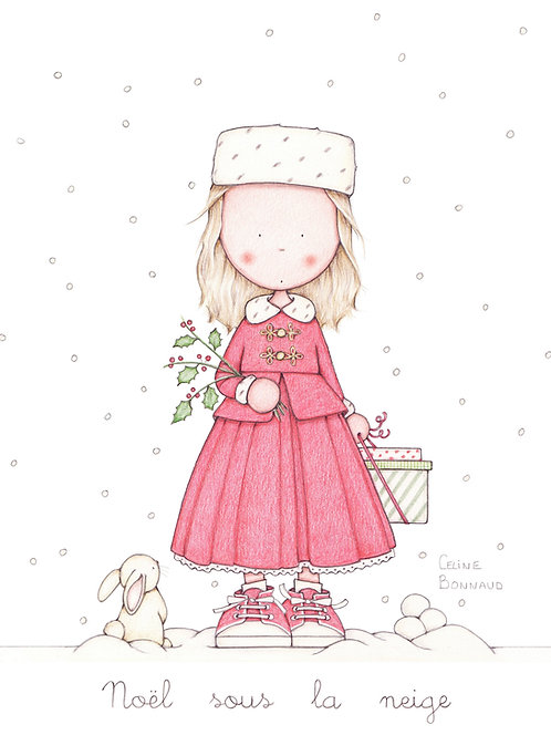 """carte postale """"Noël sous la neige"""""""