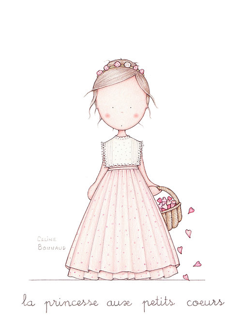 """carte postale """"la princesse aux petits coeurs"""""""