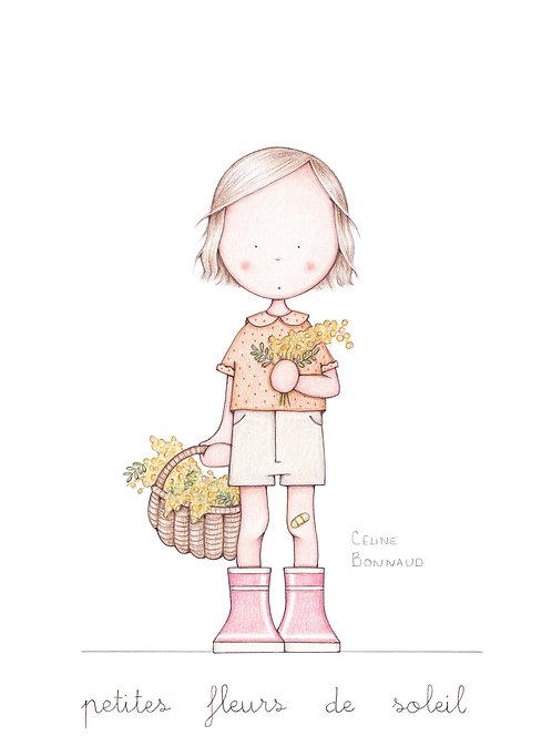 """carte postale """"Petites fleurs de soleil"""""""