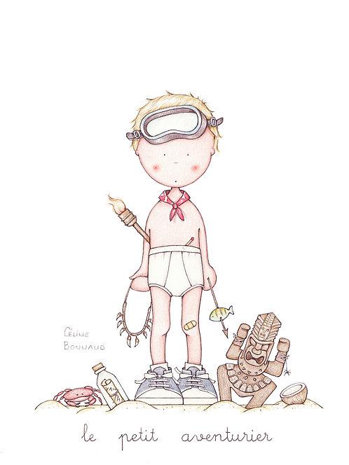 """carte postale """"Le petit aventurier"""""""