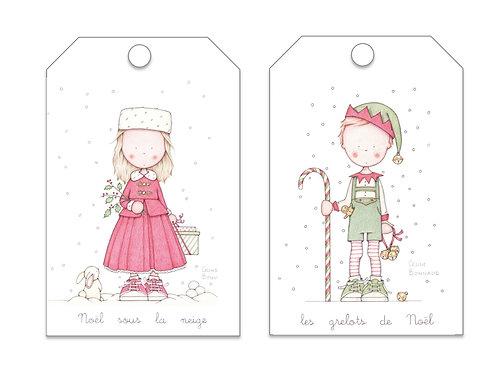 Lot n°1 de 8 étiquettes de Noël