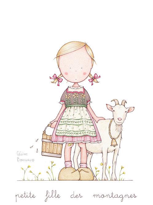 """carte postale """"petite fille des montagnes"""""""