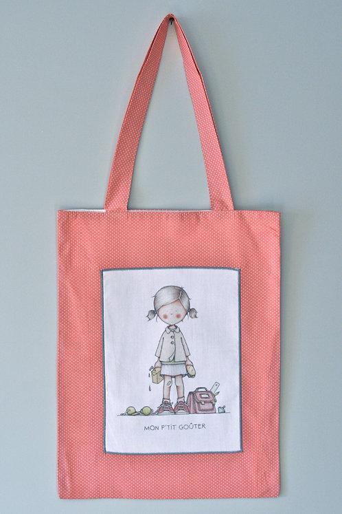 "sac ""Mon petit gouter ""rose vif mini pois blancs"