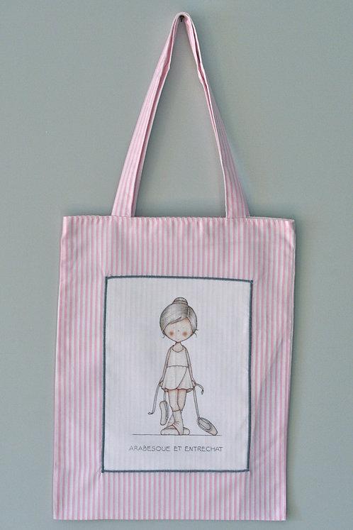 """sac """"arabesque et entrechat """"rayé rose"""