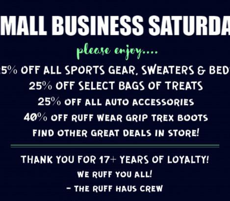 Shop Small Business Saturday at Ruff Haus!