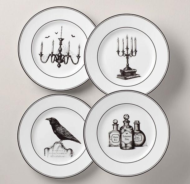 Vintage Halloween Dessert Plate Set 2.jp