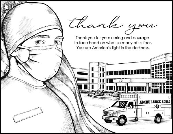 coloring page to thank a first responder