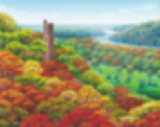 Autumn at Bowman's Tower, oil painting of Bowman's Tower in Washington's Crossing PA by Newtown artist Bonnie Porter