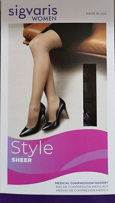 Compression stockings for the treatment of edema, in varied styles, colours and fabrics