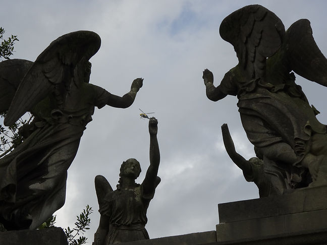 Helicopter, Angels, London, Kensal Green Cemetery