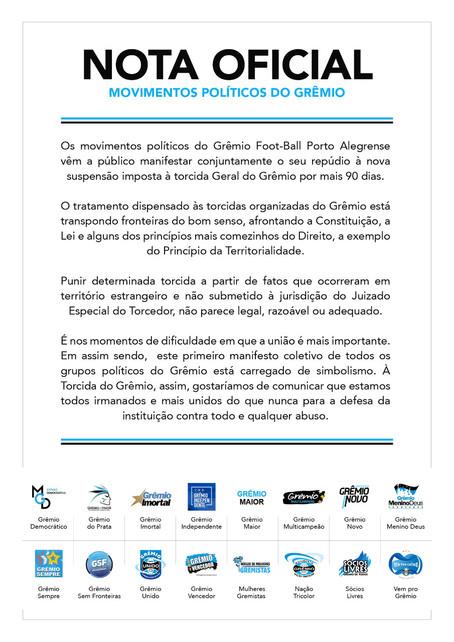 Punição à Torcida Geral do Grêmio: nota coletiva de todos os movimentos políticos do Grêmio