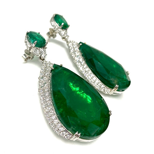 Emerald Pear and Oval Earrings 88.00 cts