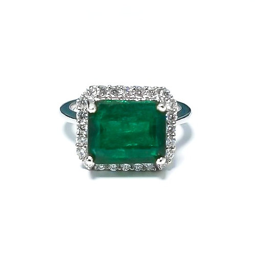 Emerald Emeraldcut Ring 3.93 cts