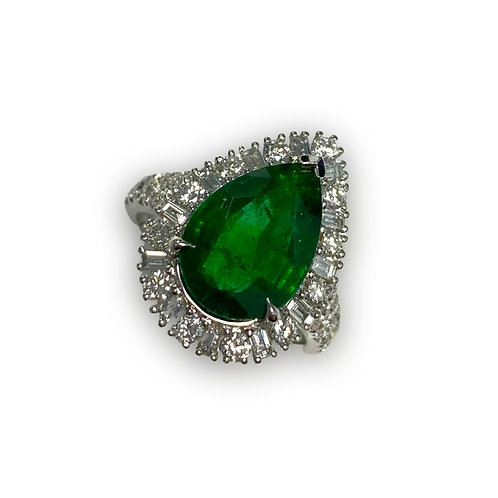 Emerald Pear Ring 3.47 cts
