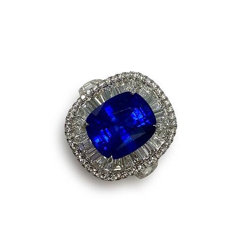 Ceylon Sapphire Cushion Ring 6.03 cts