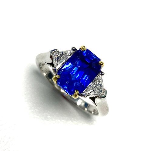 No Heat Ceylon Sapphire Emeraldcut Ring 3.25 cts