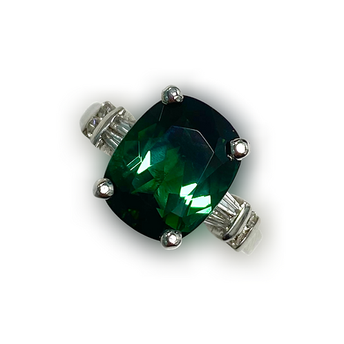 Green Tourmaline Cushion Ring 5.00 cts