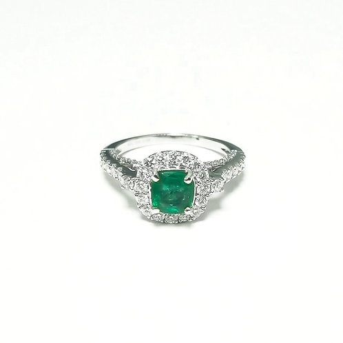 Emerald Cushion Ring 0.68 cts