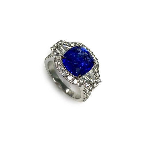 Ceylon Sapphire Cushion Ring 4.37 cts