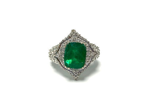 Emerald Cushion Ring 3.30 cts